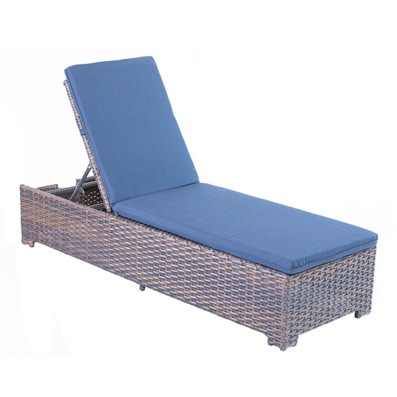 Brownstone Deluxe Skirted Chaise Lounge w/Indigo Cushion