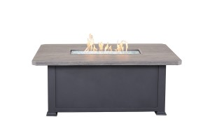 "36"" X 58"" Rect Faux Wood Fire Table W/Lid"